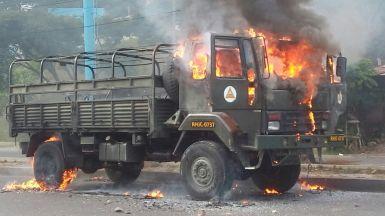 Protesta camión